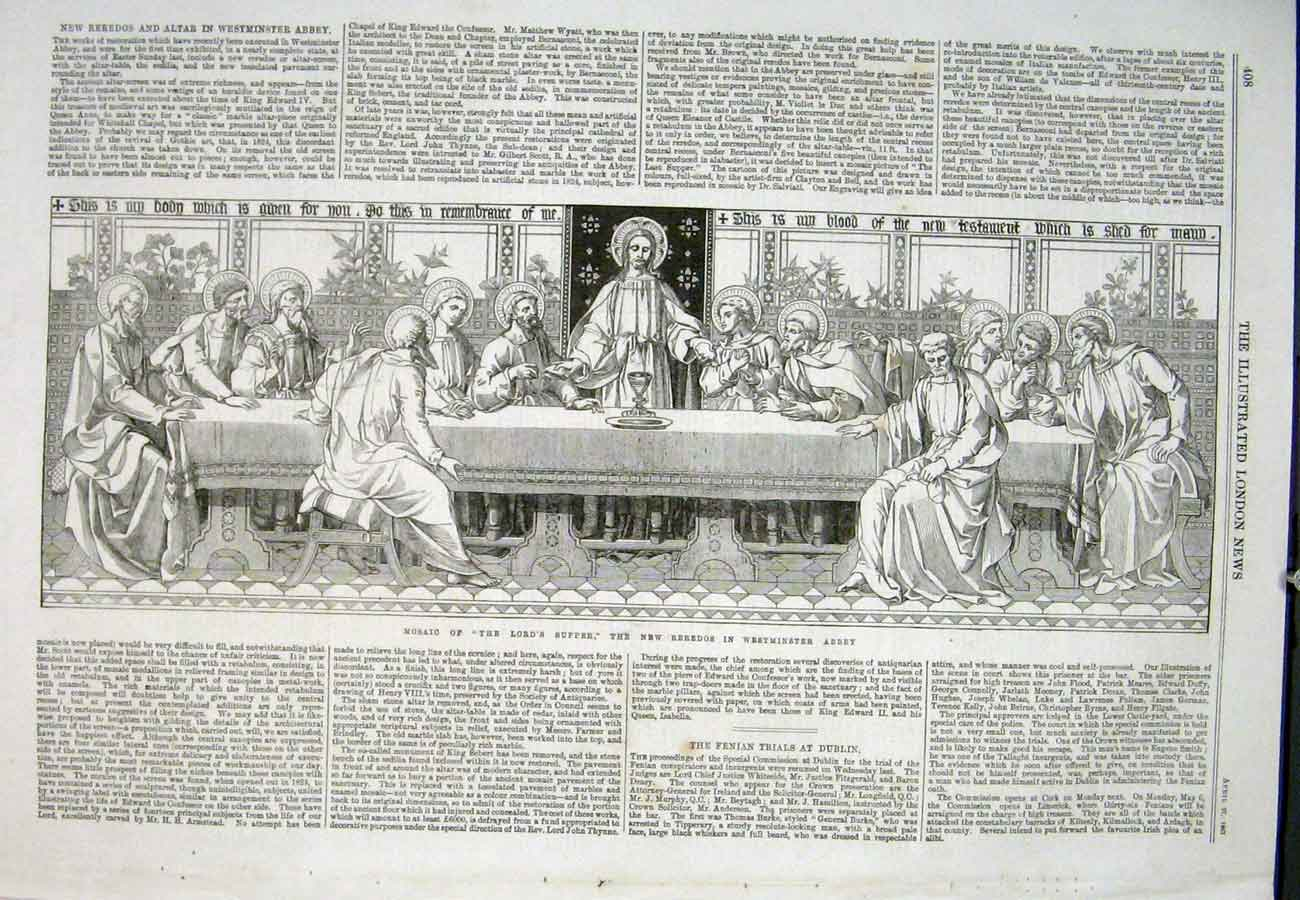 Print Lord'S Supper Reredos Westminster Abbey 1867 08Aaa0 Old Original