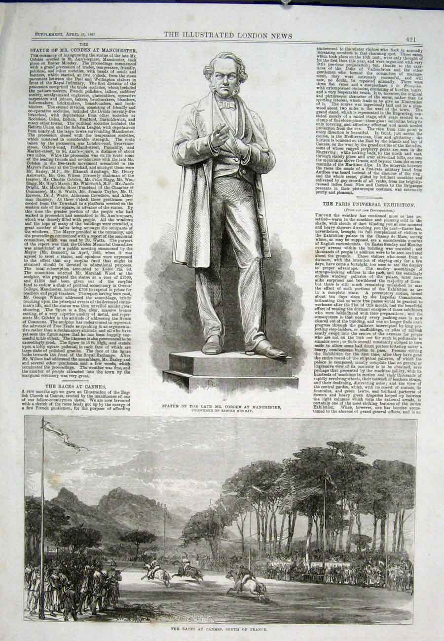 Print Statue Cobden Manchester Races Cannes France 1867 21Aaa0 Old Original