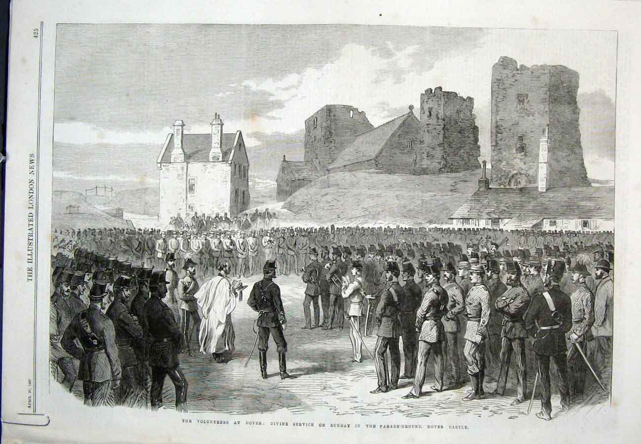 Print Dover Easter Service Castle Sunday 1867 25Aaaa0 Old Original
