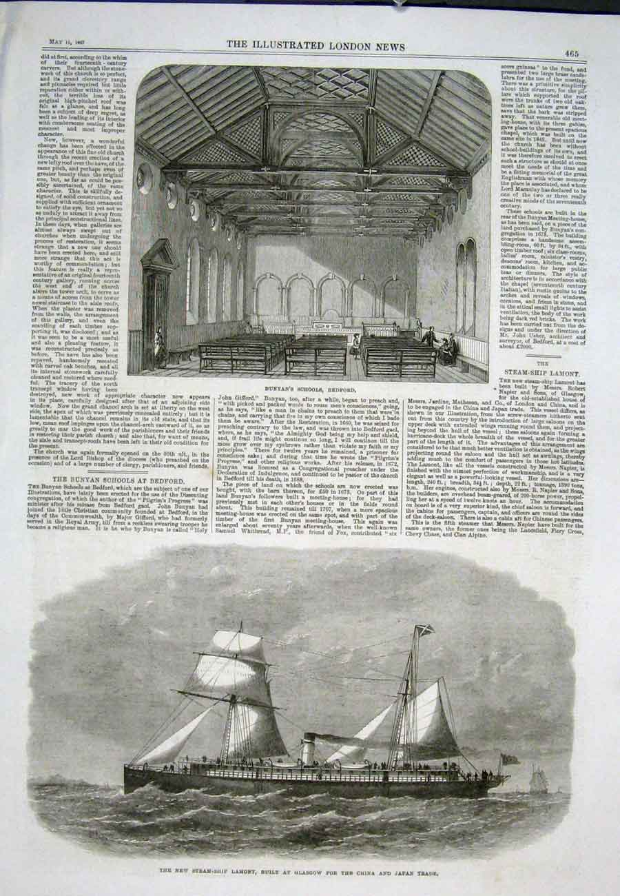 Print Bunyans School Bedford Steam Ship Lamont Glasgow 1867 65Aaa0 Old Original