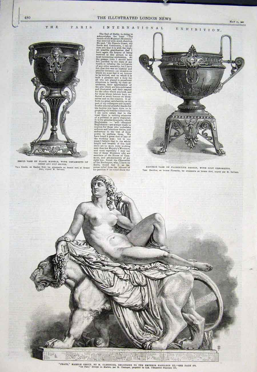 Print Paris Exhibition Napoleon Marble 1867 80Aaaa0 Old Original