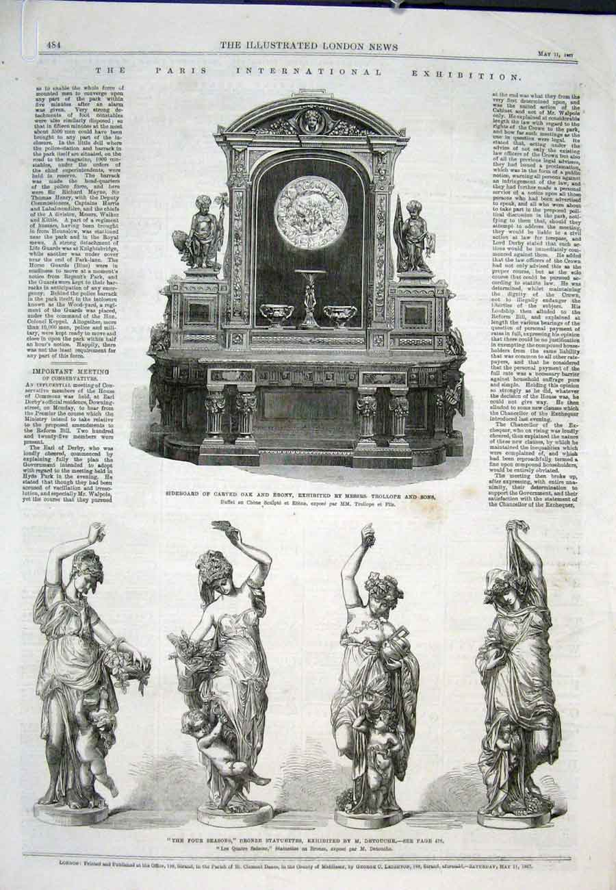 Print Paris Interantional Statue Bronze Four Seasons 1867 84Aaaa0 Old Original