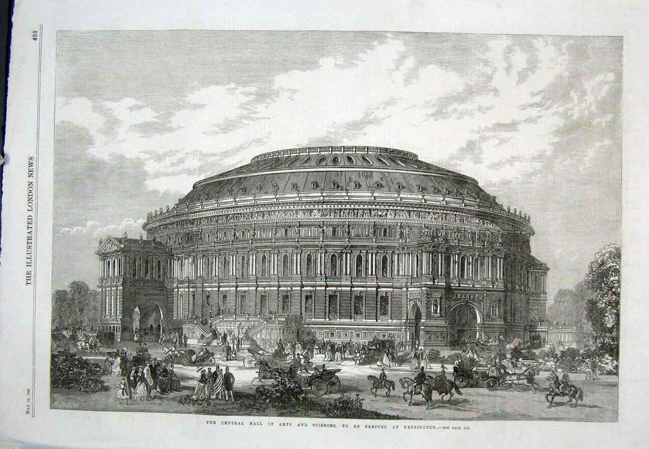 Print Kensington Central Hall Arts Sciences London 93Aaa0 Old Original