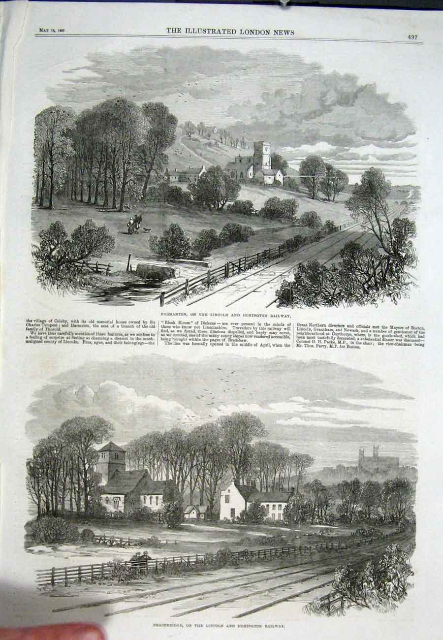 Print Normanton Lincoln Honington Railway 1867 97Aaa0 Old Original