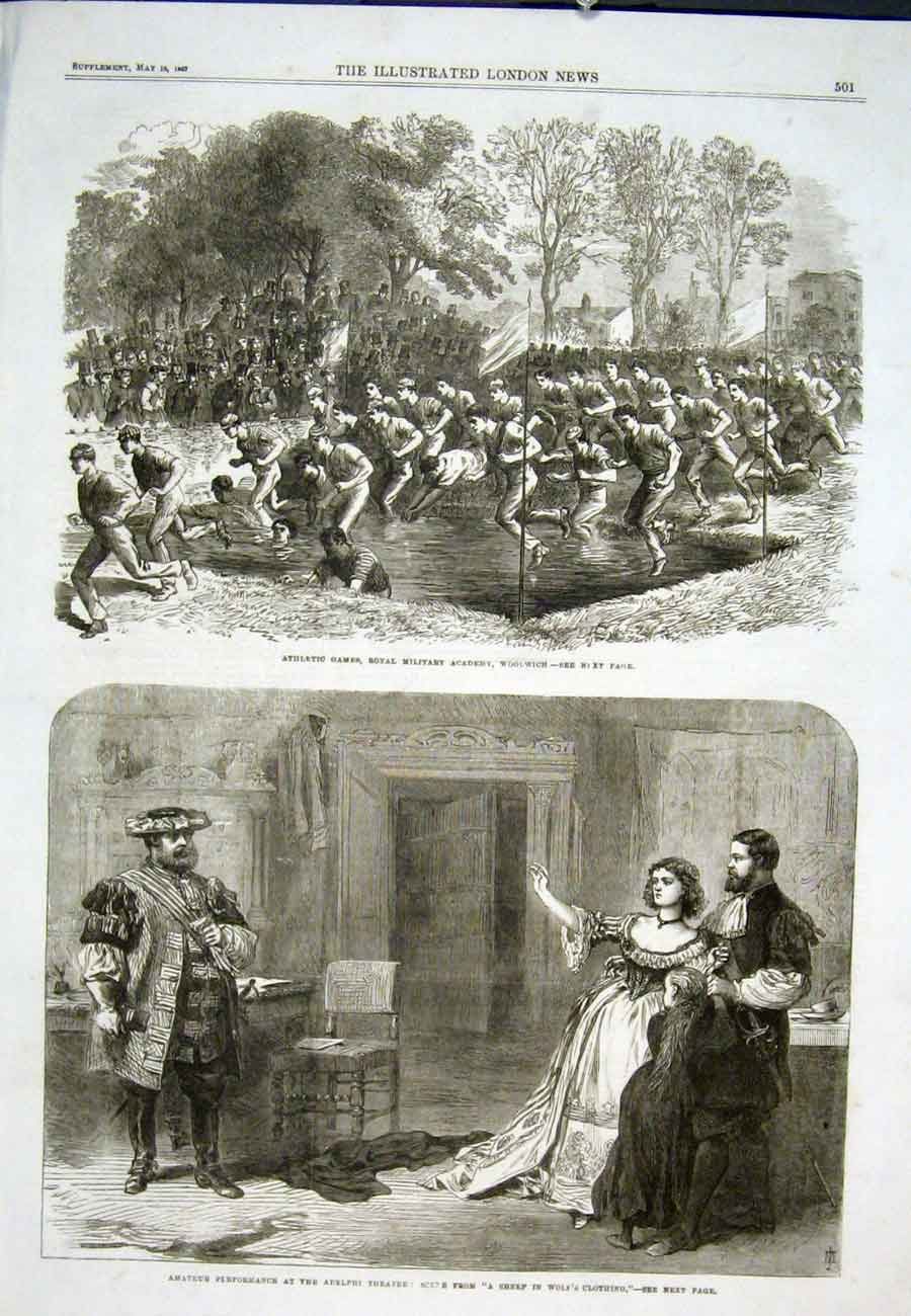 Print Athletic Games Woolwich Adelphi Theatre 1867 01Aaa0 Old Original