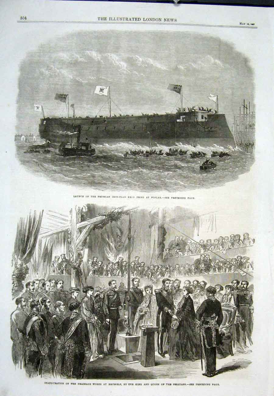 Print Iron Clad Ship Fron Prinz Poplar Brussels Drainage 1867 04Aaa0 Old Original