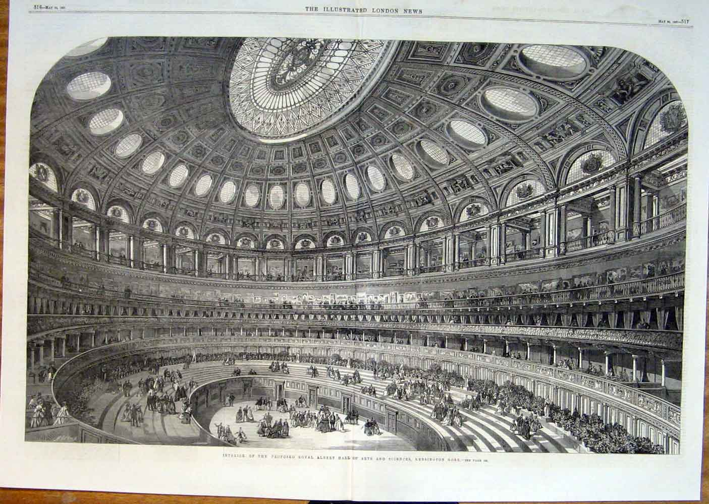 Print Royal Albert Hall Arts Science Kensington Gore London 15Taaa0 Old Original