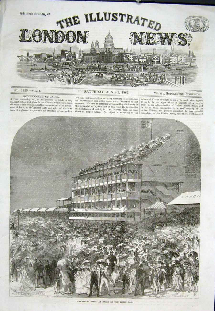 Print Epson Derby Grand Stand 1867 34Aaa0 Old Original