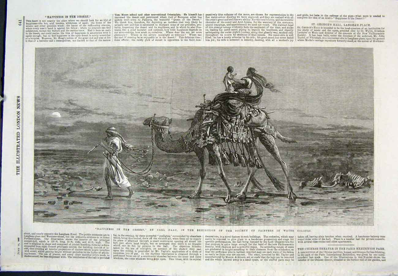 Print Carl Haage Happiness Desert Exhibition 1867 41Aaa0 Old Original