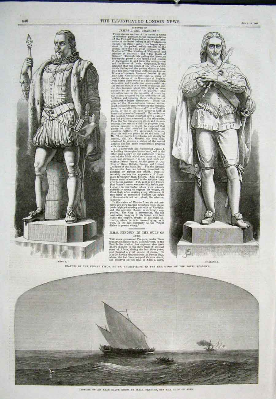 Print Statue Stuart King Thornycroft Hms Penguin Dhow 1867 48Aaa0 Old Original