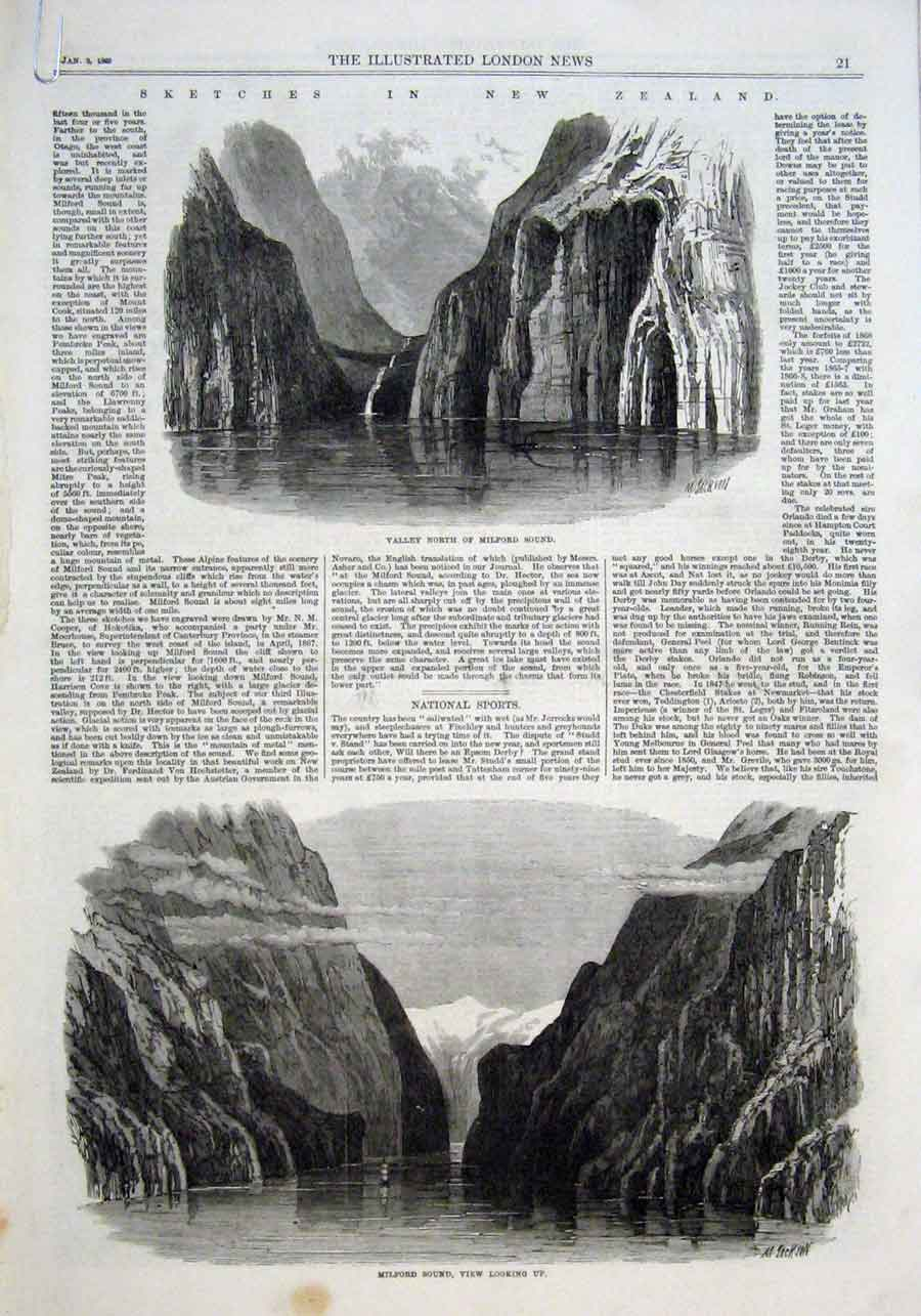 Print New Zealand Milford Sound 1869 21Aaaa0 Old Original