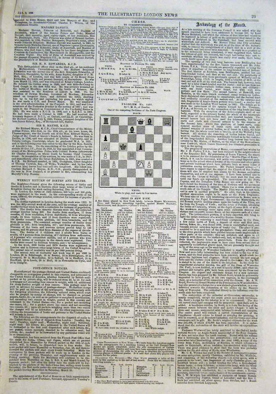 Print Chess Problems And Solutions 1869 *10 23Aaa0 Old Original