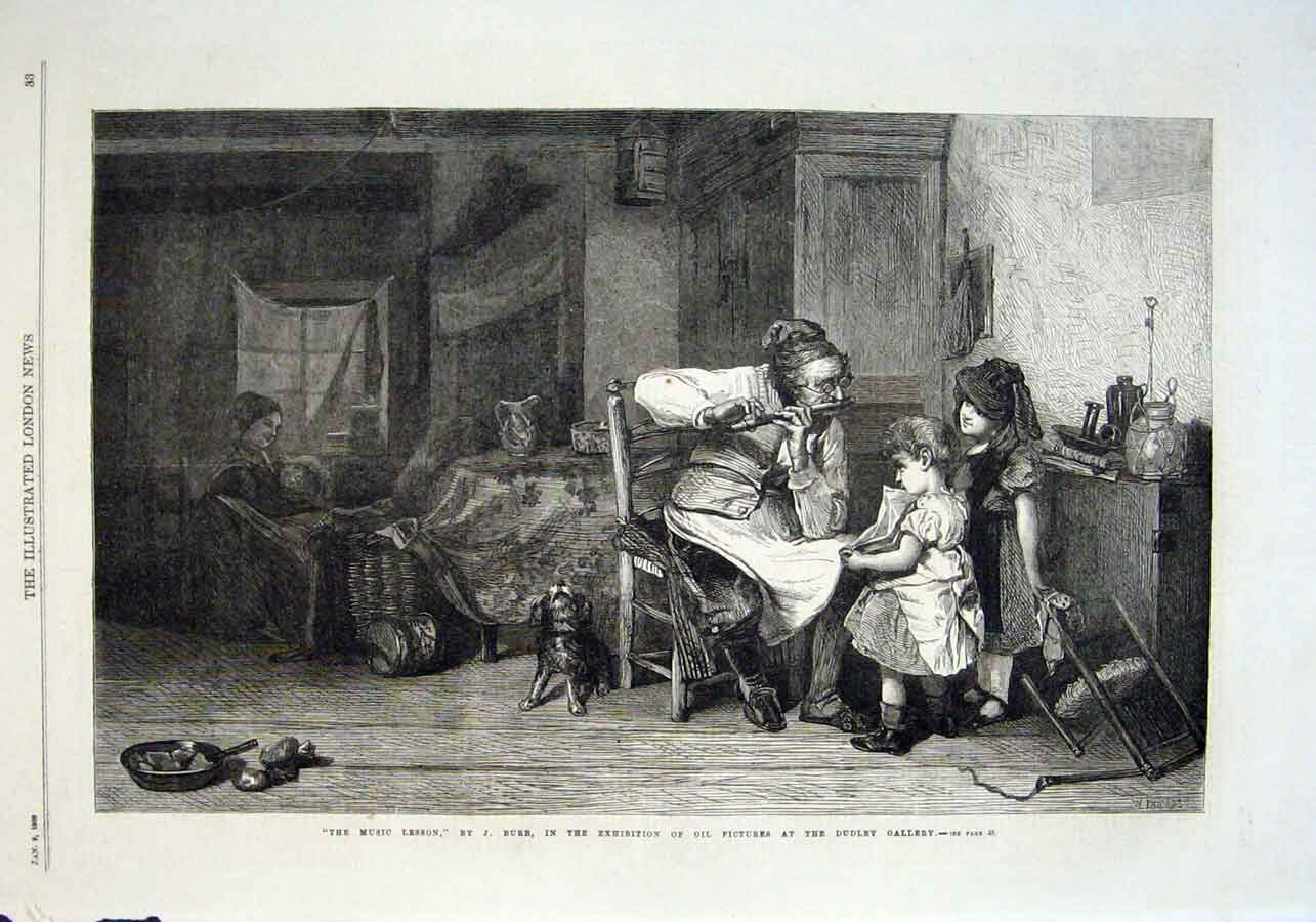 Print The Music Lesson By Burr 1869 Fine Art 33Aaa0 Old Original