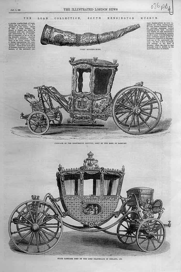 Print State Carriages At Kensington Museum 1869 36Aaaa0 Old Original