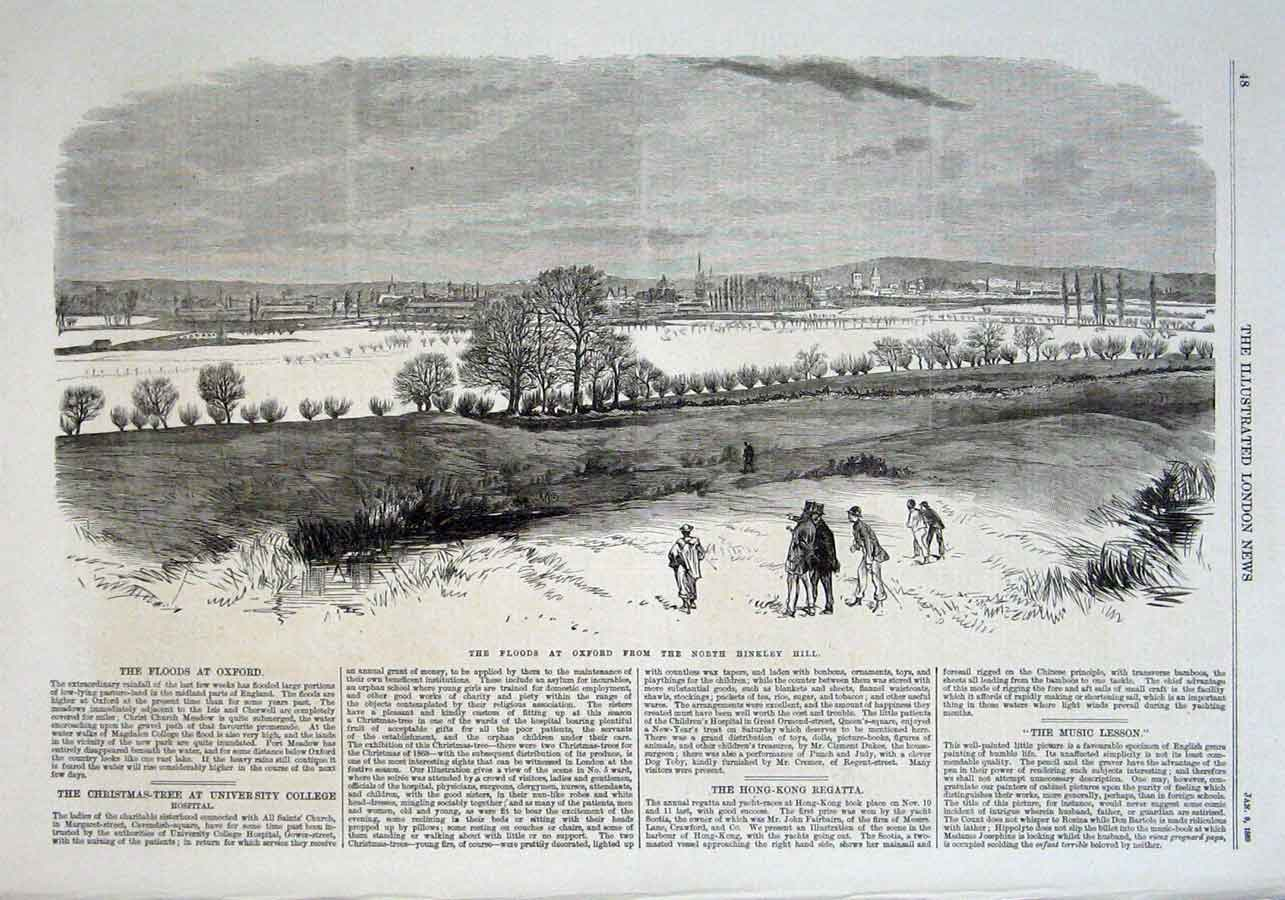 Print Floods At Oxford 1869 48Aaa0 Old Original