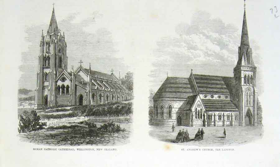 Print Roman Catholic School Wellington New Zealand 1869 73Laaa0 Old Original