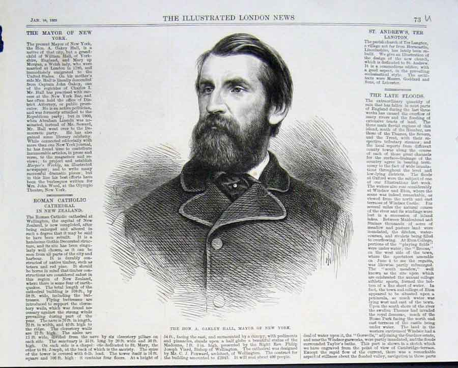 Print A Oakley Hall Mayor New York 1869 73Uaaa0 Old Original