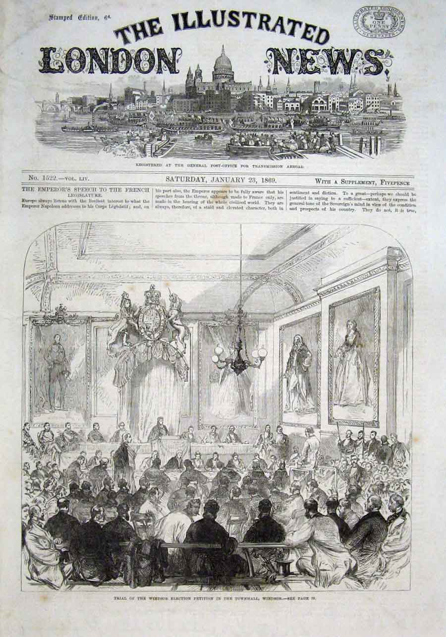 Print Trila Windsor Election Petition Town Hall Windsor 1869 78Aaa0 Old Original