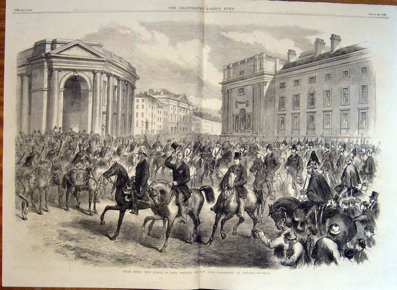 Print State Entry Into Dublin Earl Spencer Lord Lieutenant 07Taaa0 Old Original