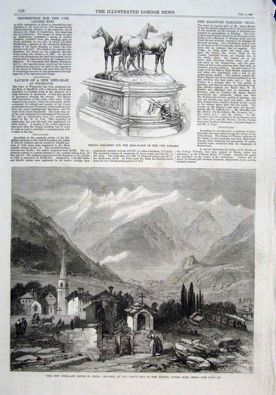 Print Modane North End Tunnel Under Mont Cenis 1869 28Aaa0 Old Original