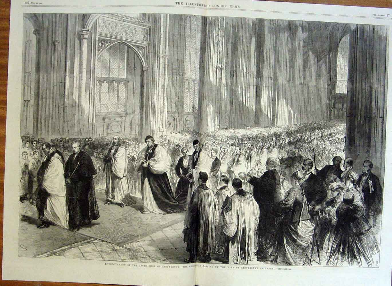 Print Enthronement Archbishop Canterbury Cathedral 1869 55Taaa0 Old Original