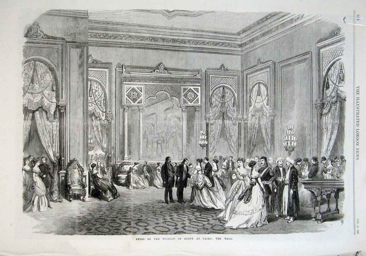 Print Fetes Viceroy Egypt At Cairo 1869 68Aaaa0 Old Original