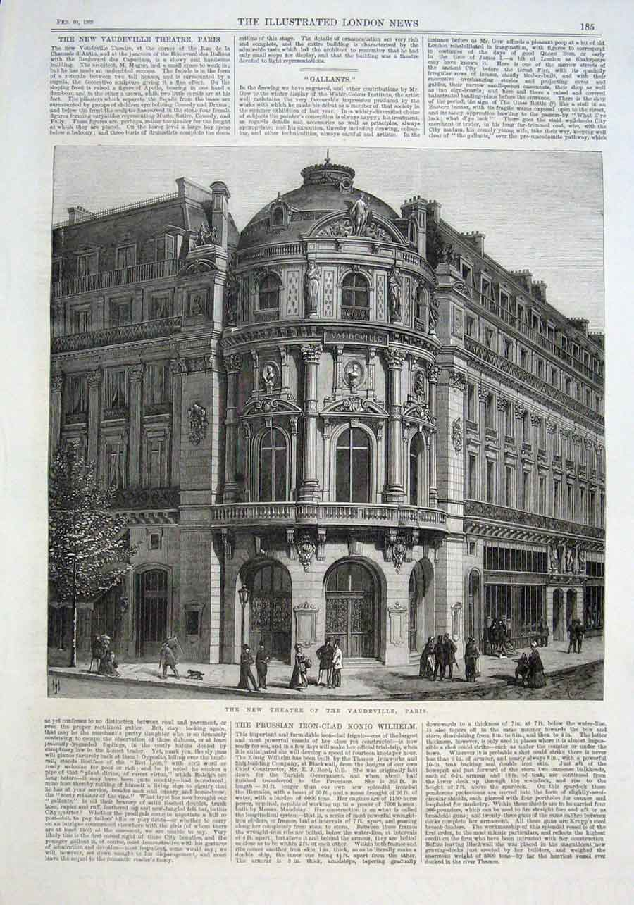 Print New Theatre Vaudeville Paris 1869 Fran 85Aaa0 Old Original