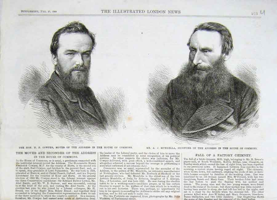 Print Cowper & Mundella 1869 Mp'S Portrait 13Uaaa0 Old Original