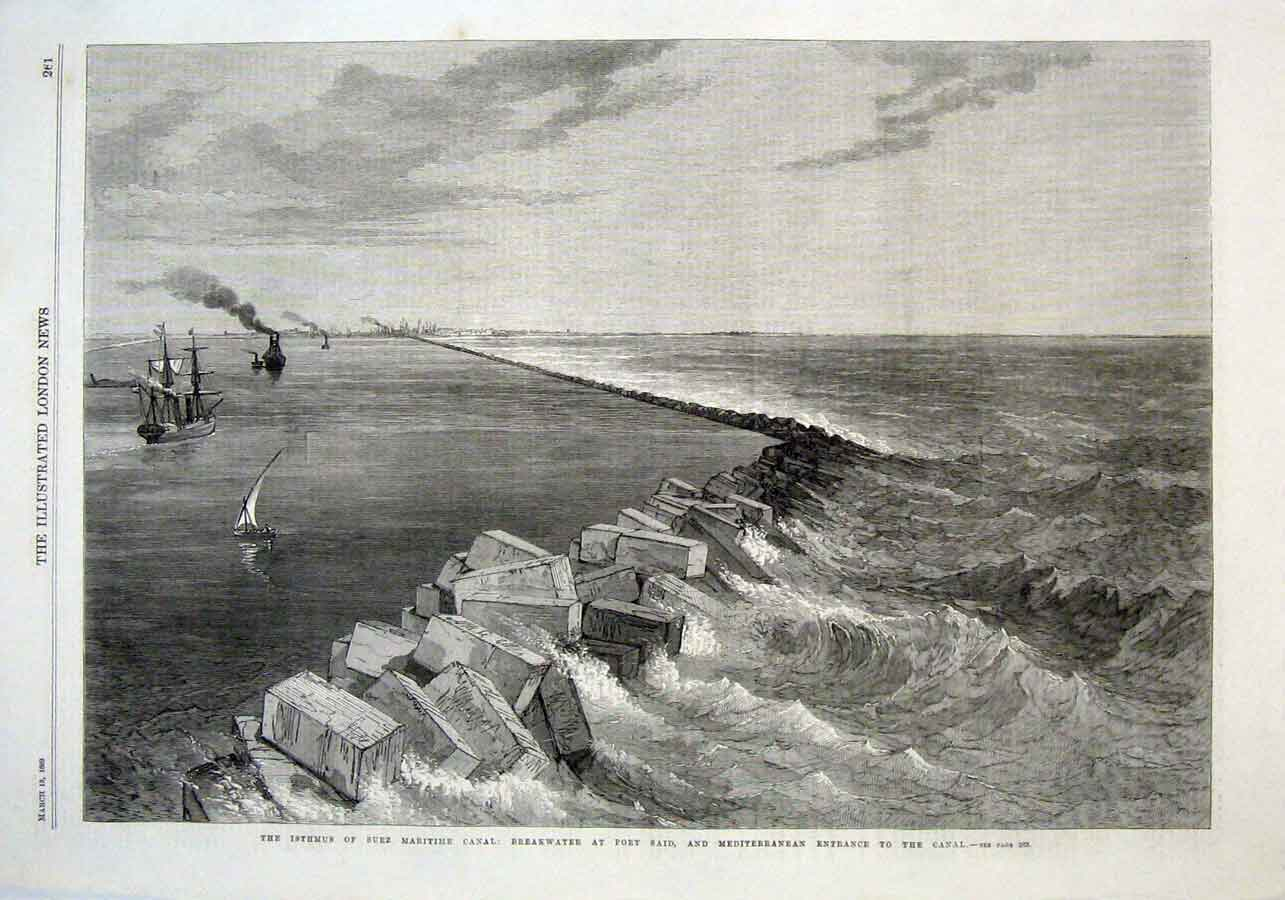 Print Breakwater Port Said Entrance Suez Canal 1869 61Aaa0 Old Original