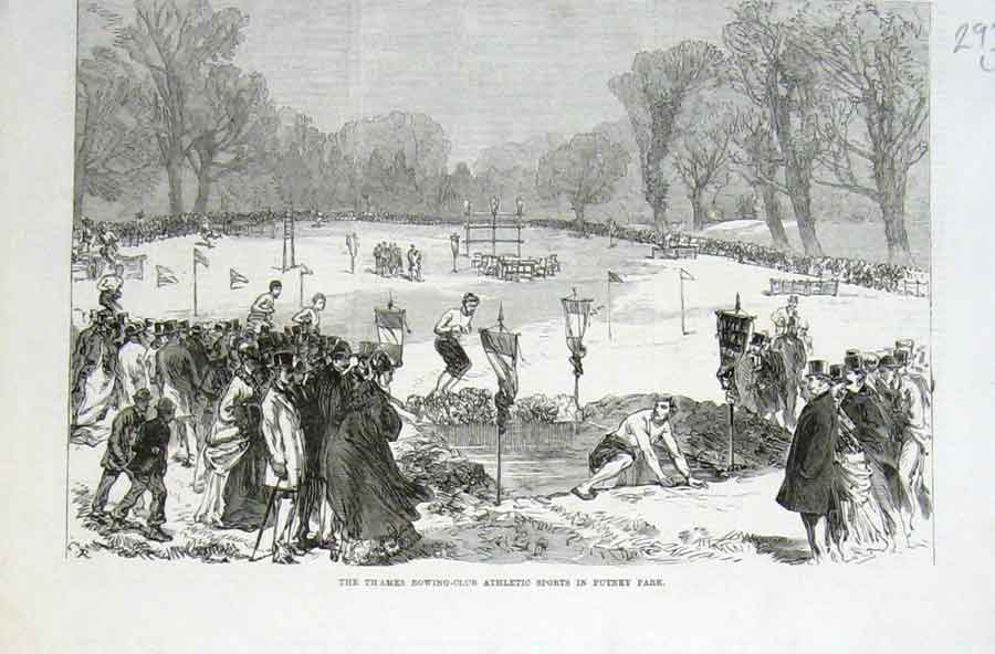 Print Water Jump Athletic Sports Putney Park 1869 93Laaa0 Old Original