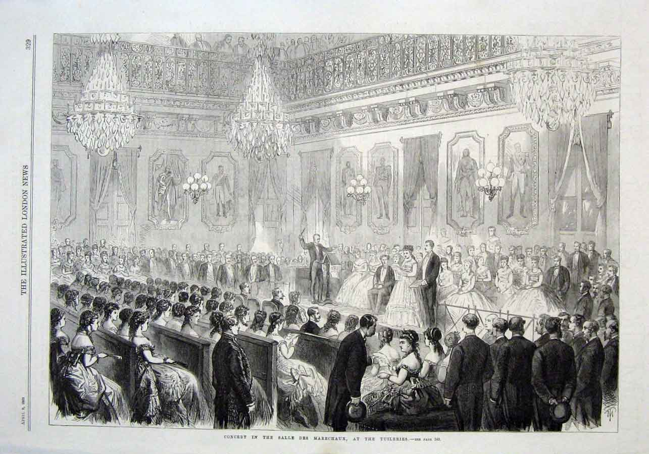 Print Concert In Salles Des Marechaux Tuileries 1869 Paris 29Aaa0 Old Original