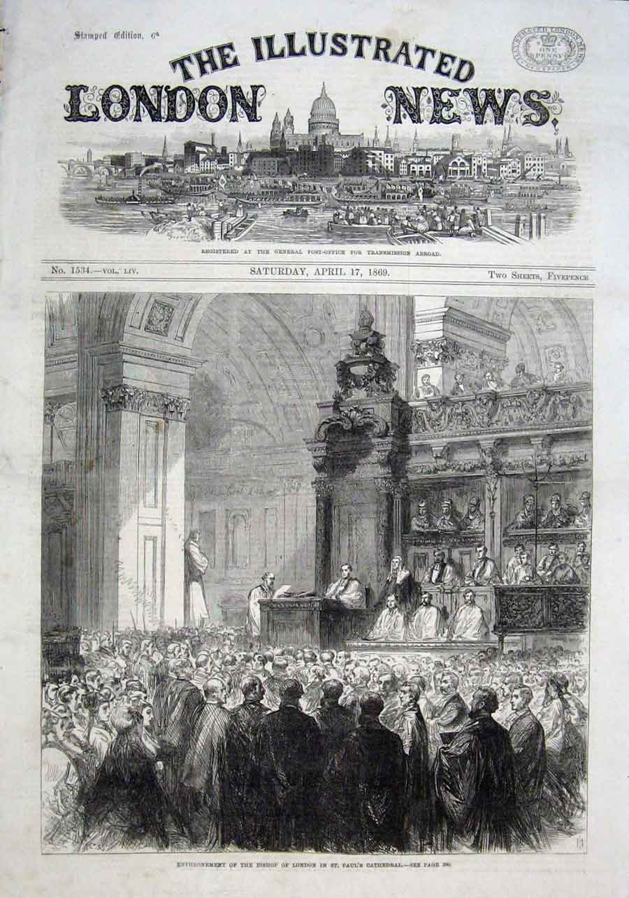 Print Enthronement Bishop London St Pauls Cathedral 1869 74Aaa0 Old Original