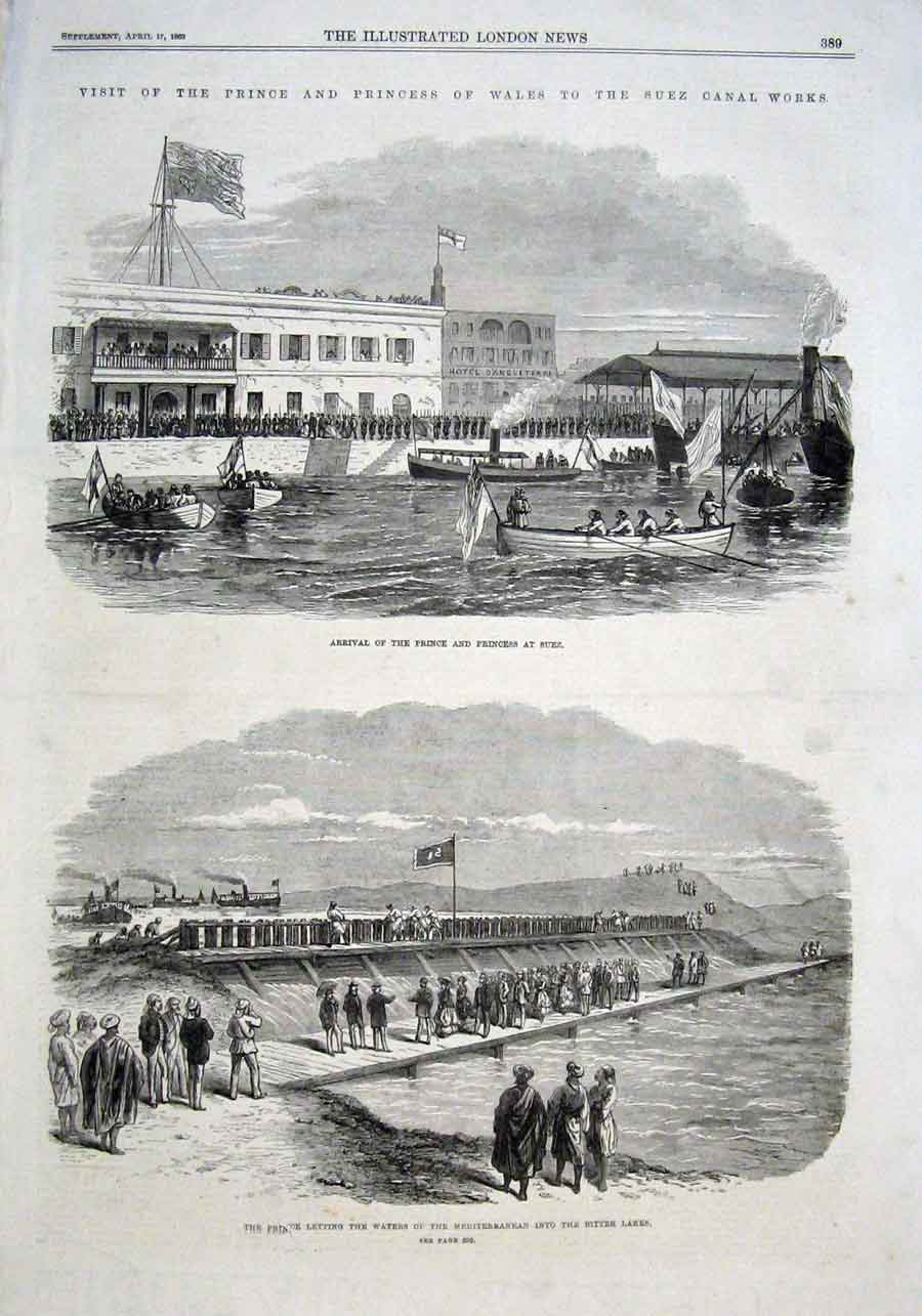Print Prince Wales Visits Suez Canal 1869 89Aaa0 Old Original