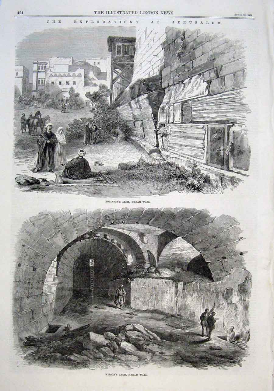 Print Explorations At Jerusalem 1869 Haram Wall 24Aaaa0 Old Original