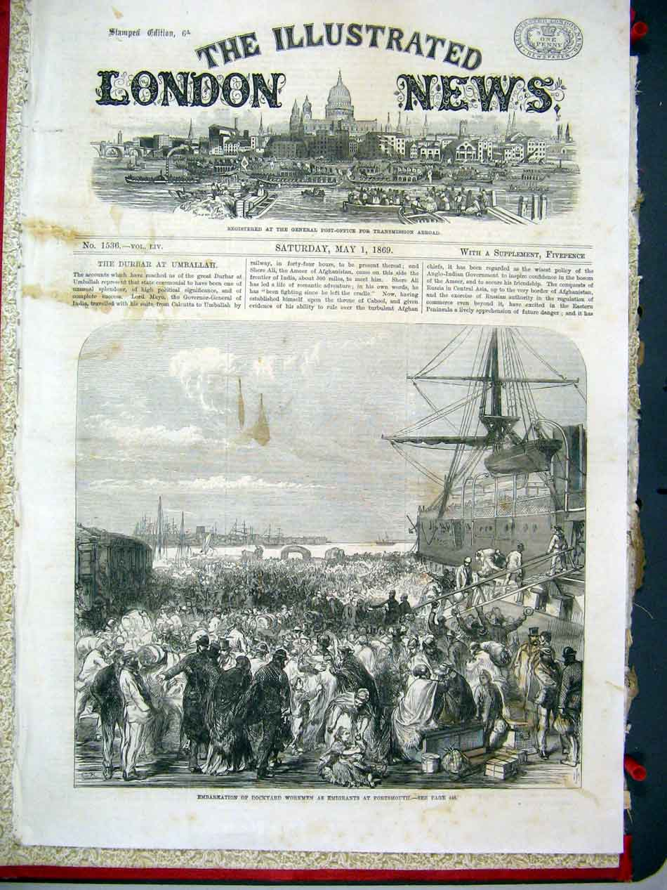 Print Dockyard Workers Imigrate From Portsmouth 1869 30Aaa0 Old Original