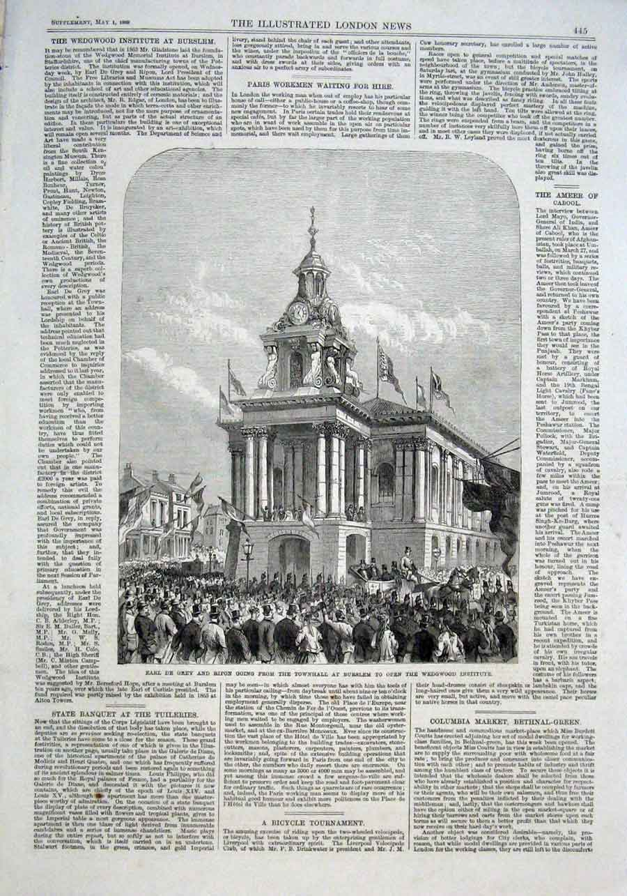 Print Earl De Grey & Ripon To Open Wedgewood Institute 1869 45Aaa0 Old Original