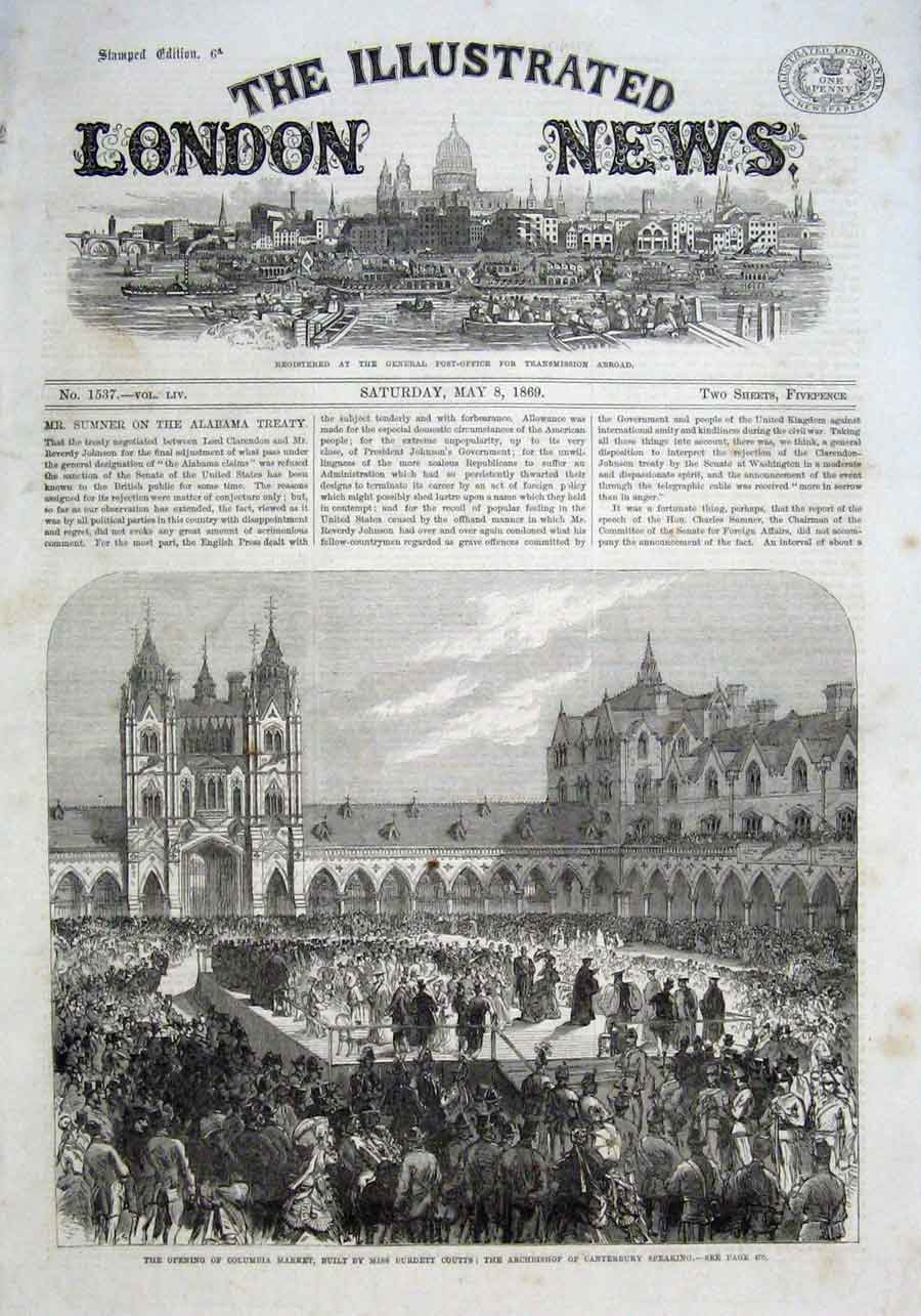 Print Opening Columbia Market Buit By Miss Burdett Couts 1869 54Aaa0 Old Original