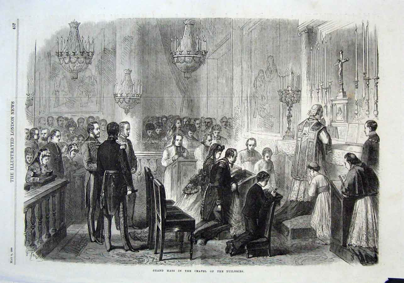 Print Grand Mass In Chapel Tuileries 1869 57Aaa0 Old Original
