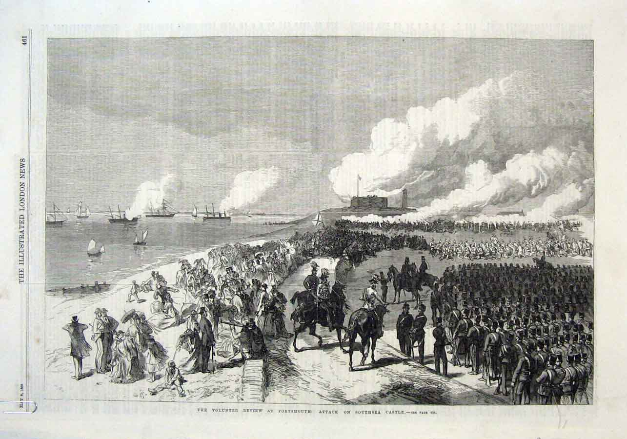 Print Attack Southsea Castle 1869 Portsmouth Review 61Aaaa0 Old Original