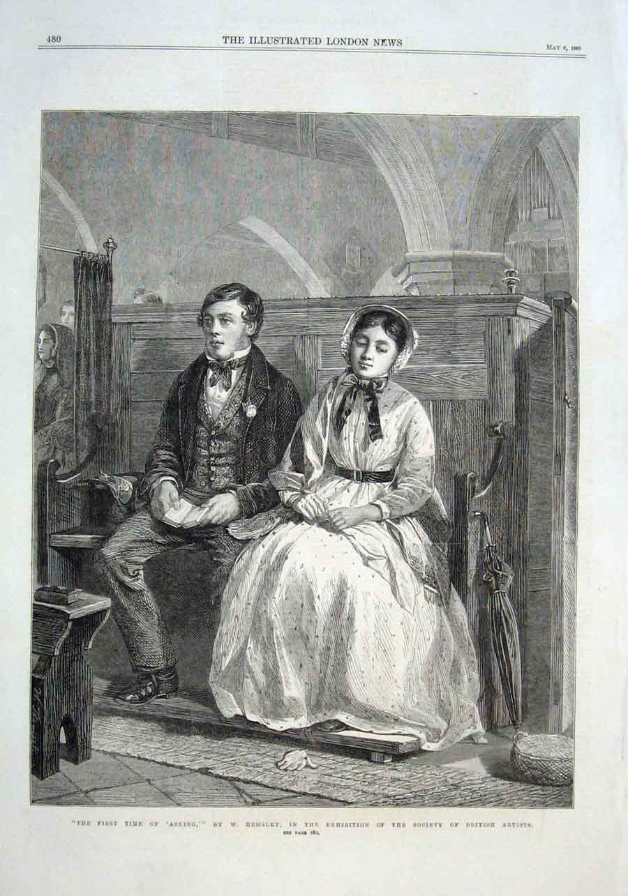 Print First Time Asking By Hemsley 1869 Art 80Aaa0 Old Original