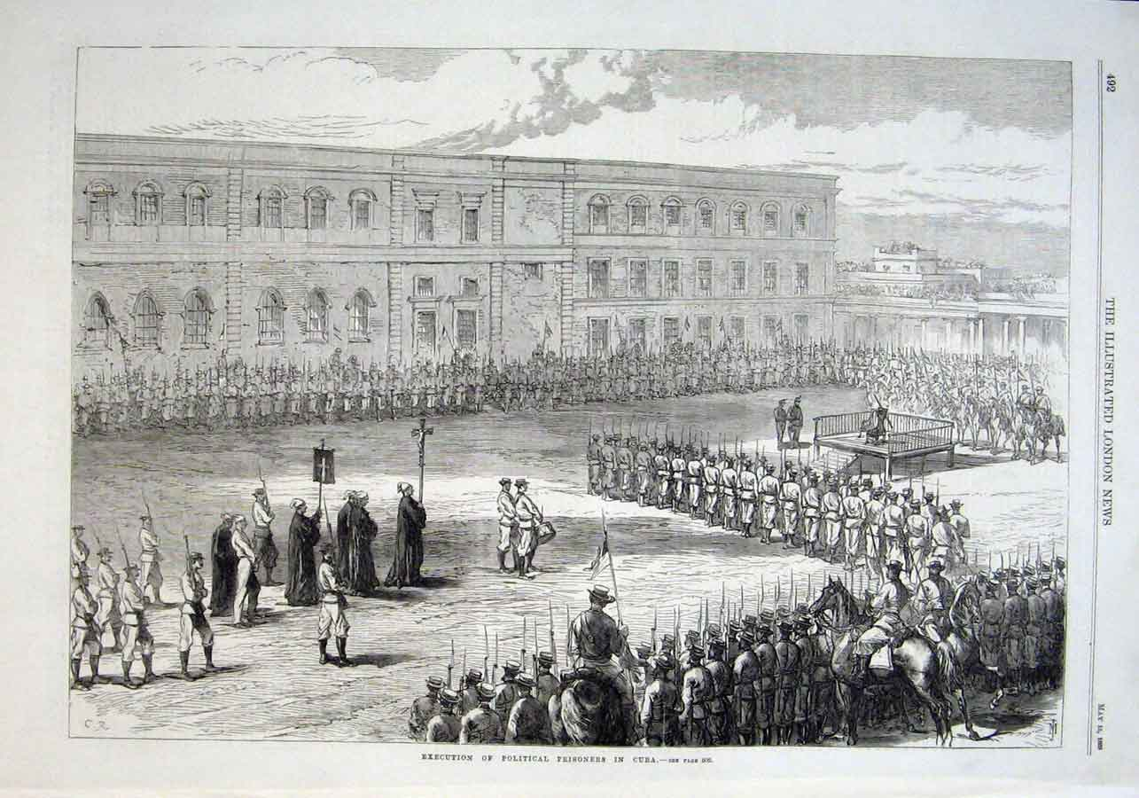 Print Executation Political Prisoners Cuba 1869 92Aaa0 Old Original