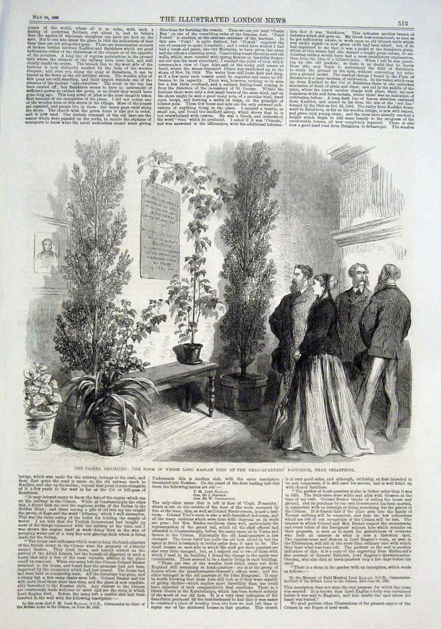 Print Lord Raglans Death Room At Hq Sebastopol Crimea Revisit 13Aaa0 Old Original
