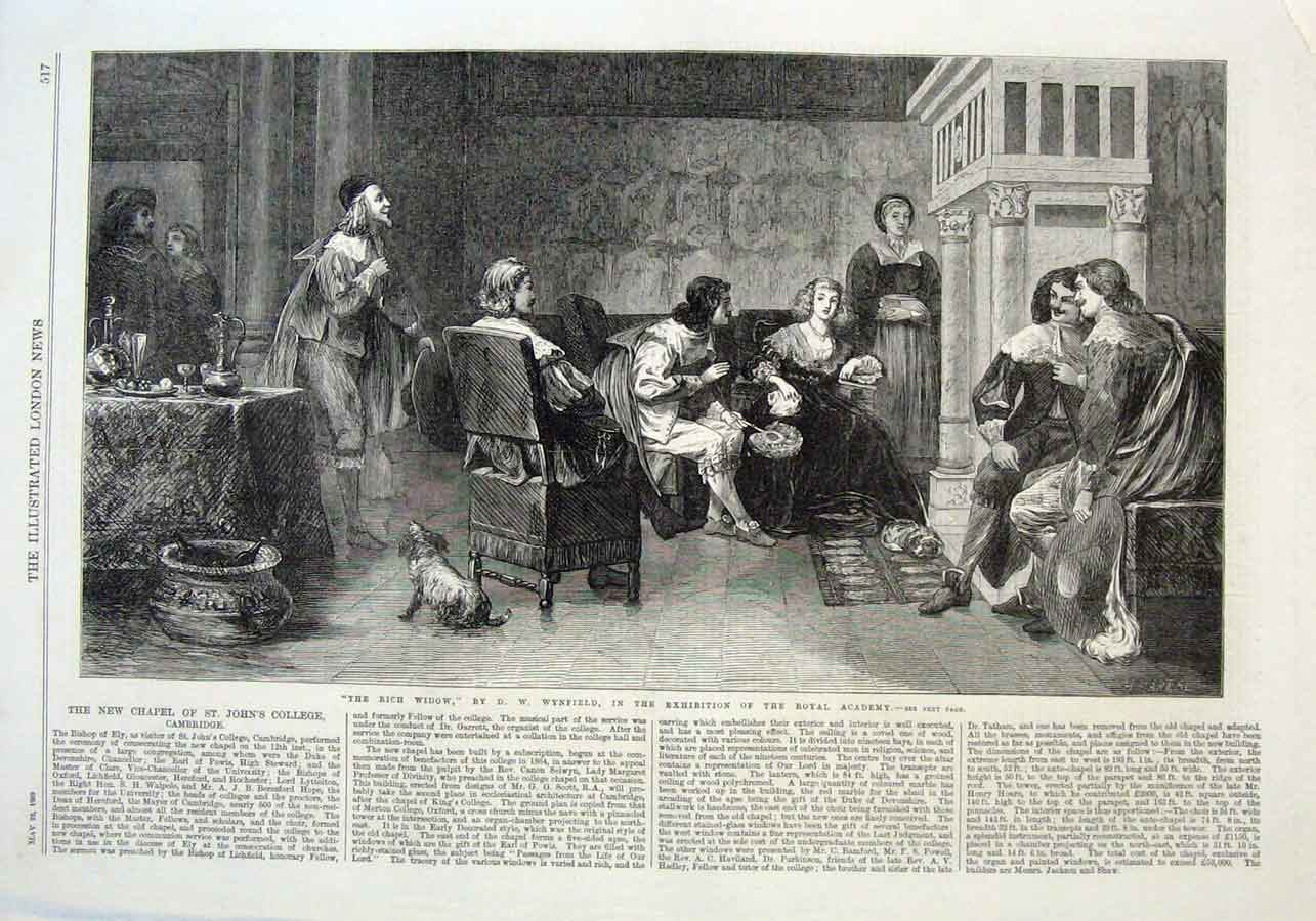 Print The Rich Widow By Wynfield 1869 Fine Art 17Aaa0 Old Original