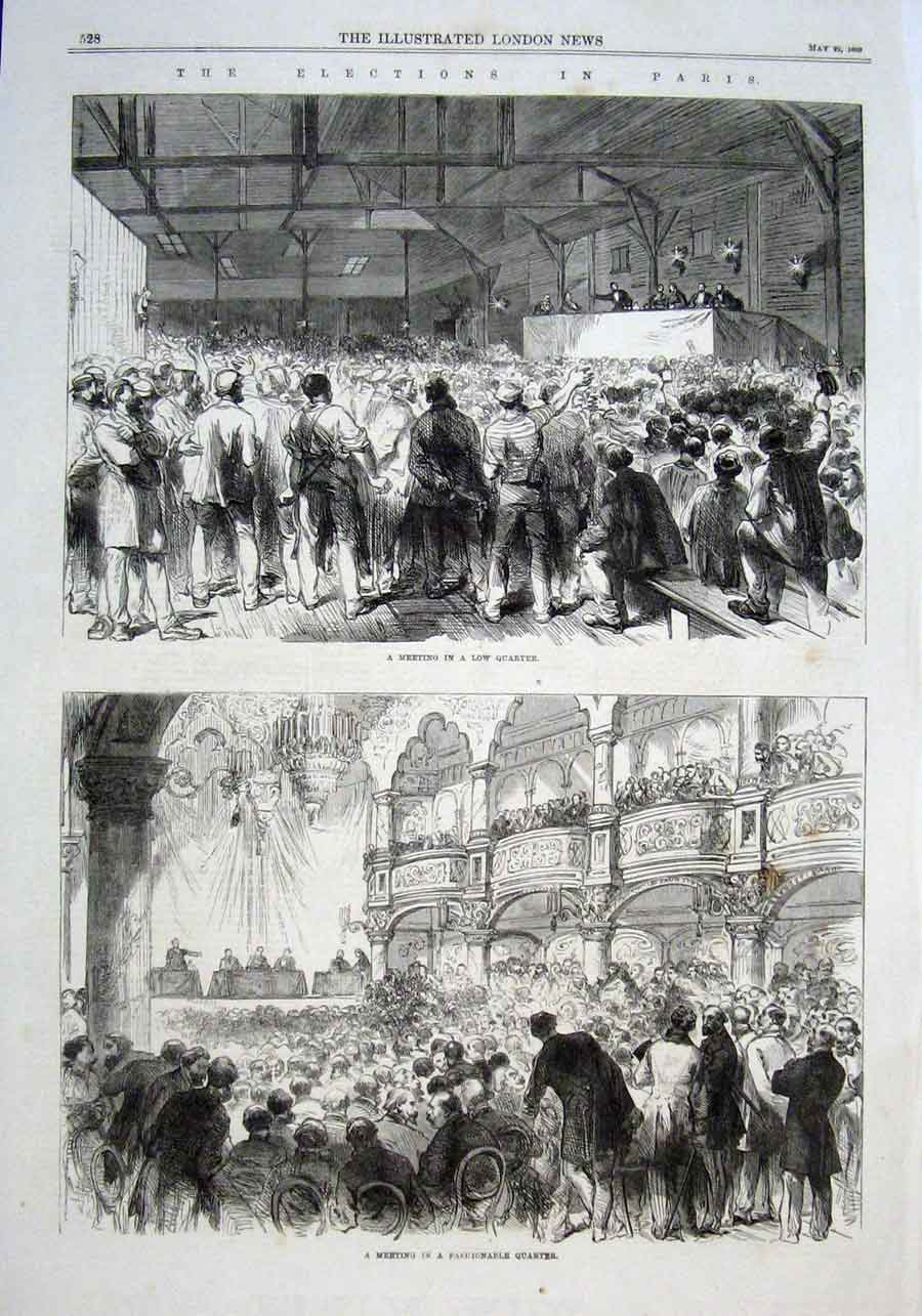 Print Election Meetings In Low & Fashionable Parts Paris 1869 28Aaa0 Old Original