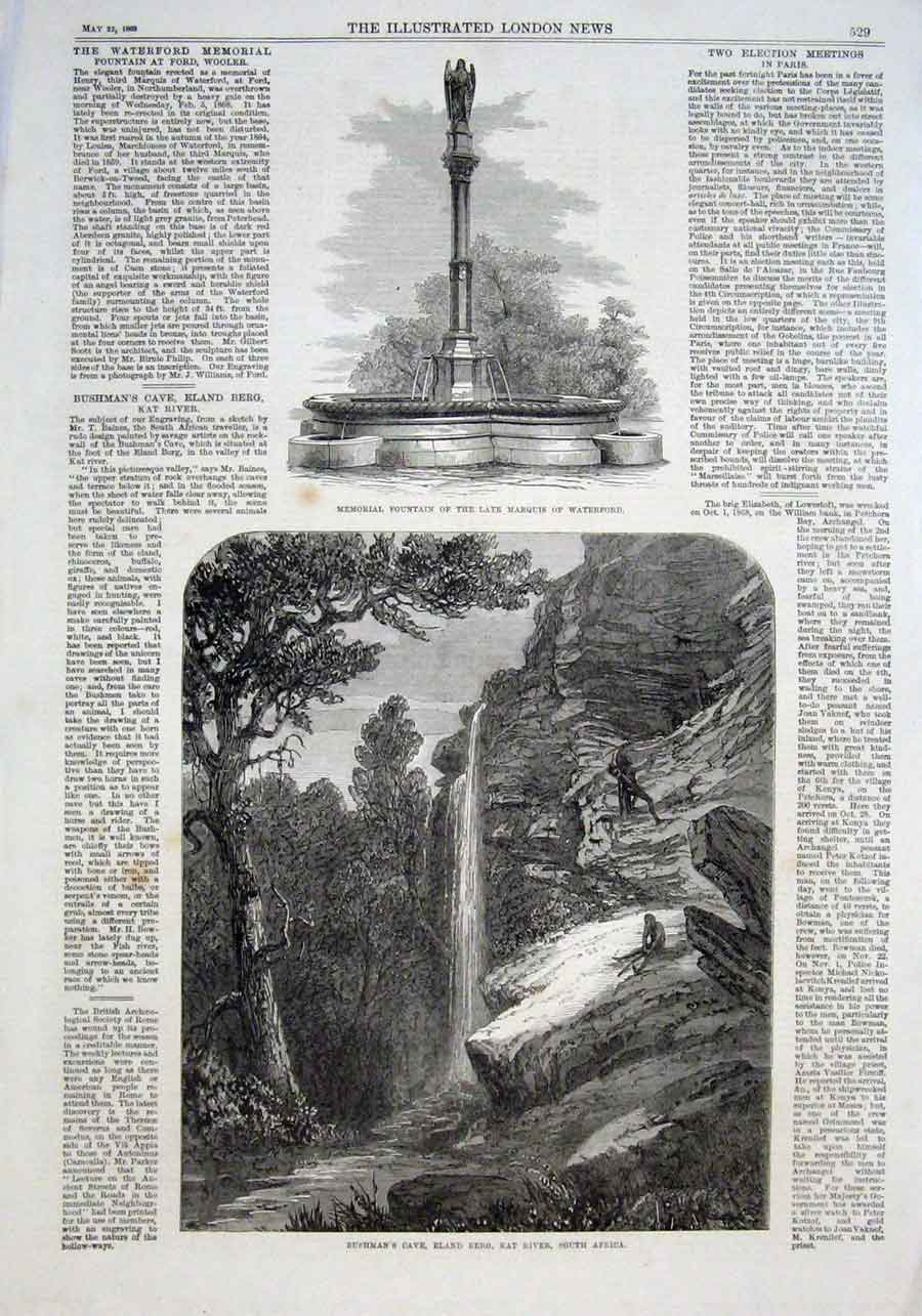 Print Bushman Cave Eland Berg Kat River South Africa 1869 29Aaa0 Old Original