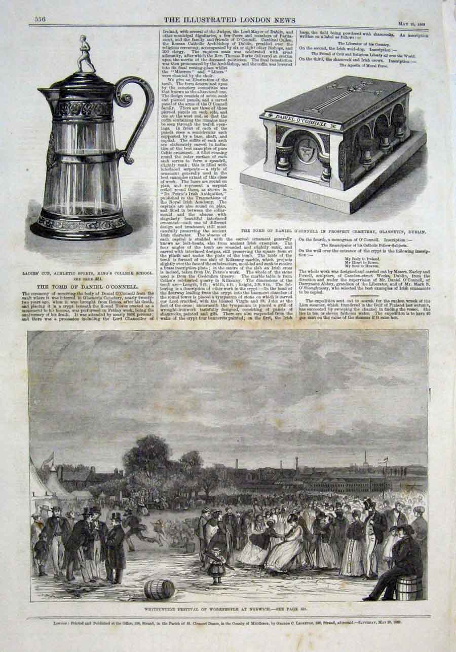 Print Whitsuntide Festival Workspeople At Norwich 1869 Nor 56Aaa0 Old Original