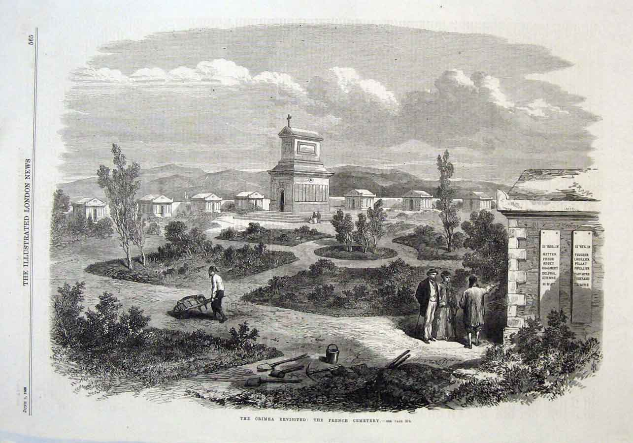 Print The French Cemetery The Crimea Revisited 1869 65Aaa0 Old Original