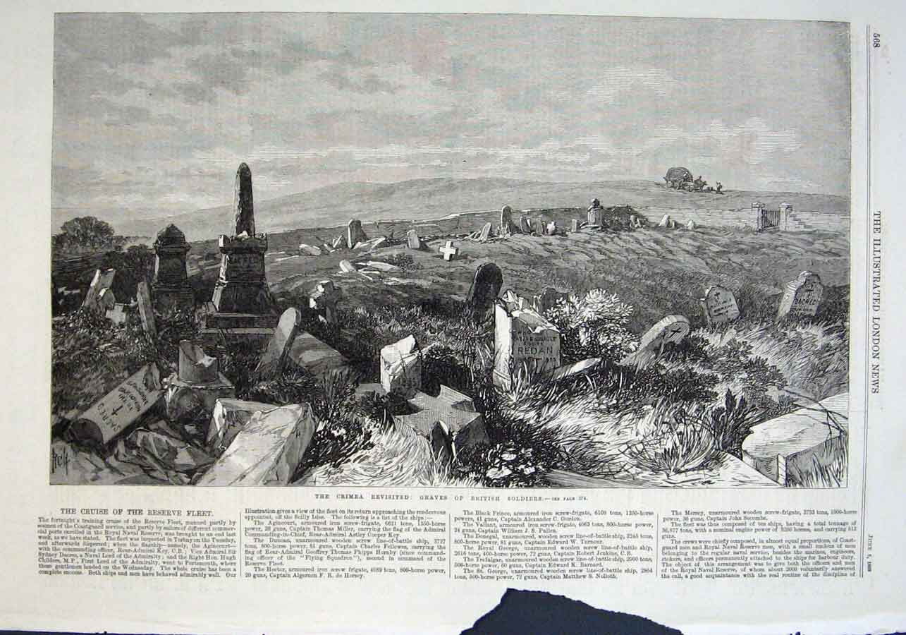 Print Graves British Soldiers In Crimea Revisited 1869 68Aaa0 Old Original