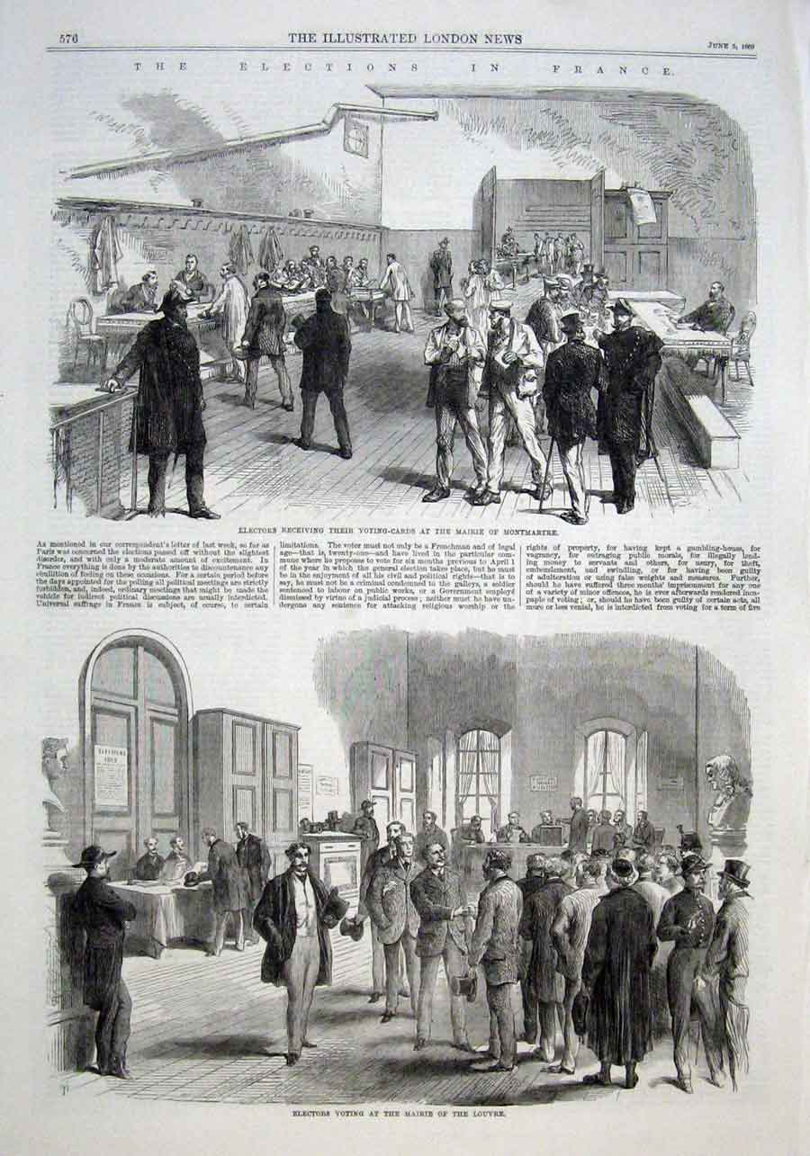 Print The Ellections In France 4 Scenes 1869 76Aaaa0 Old Original