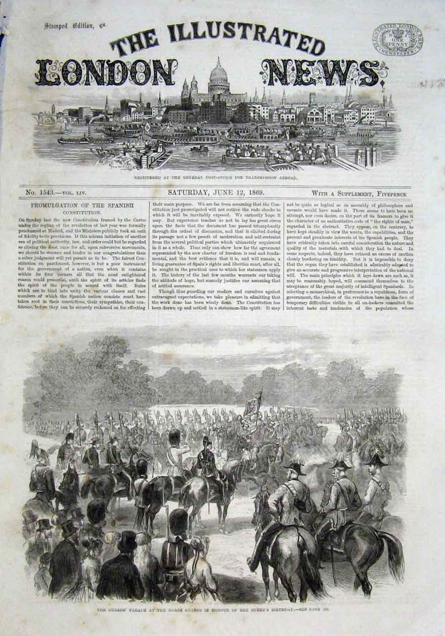 Print Guards Parade At Horse Guards Queens Birthday 1869 82Aaa0 Old Original
